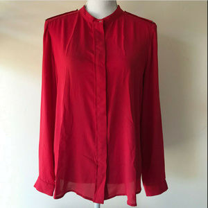 MANGO BASICS Red button down shirt Metal Accents